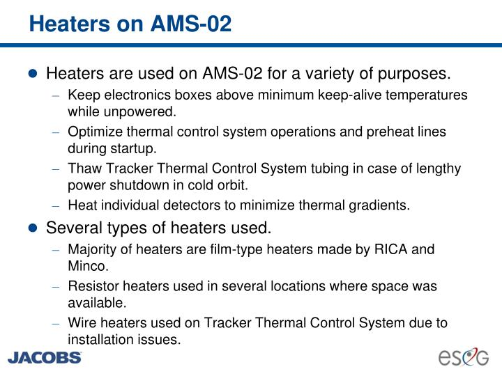 Heaters on ams 02