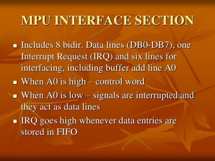 MPU INTERFACE SECTION
