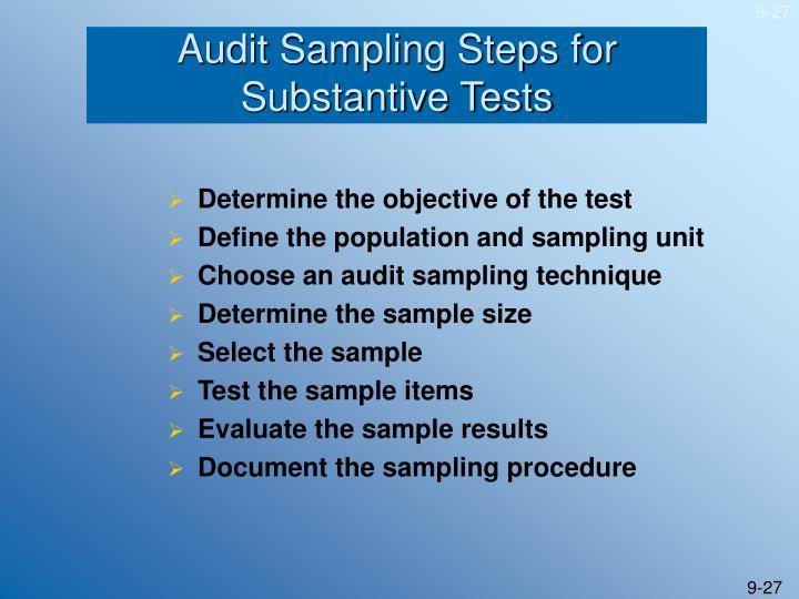 Audit Sampling Steps for Substantive Tests