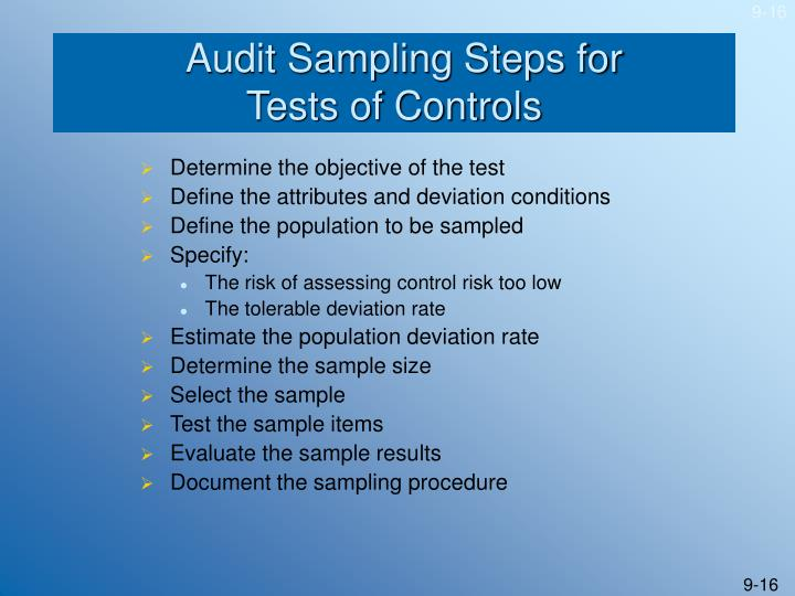 Audit Sampling Steps for