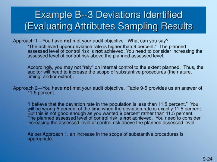 Example B--3 Deviations Identified (Evaluating Attributes Sampling Results