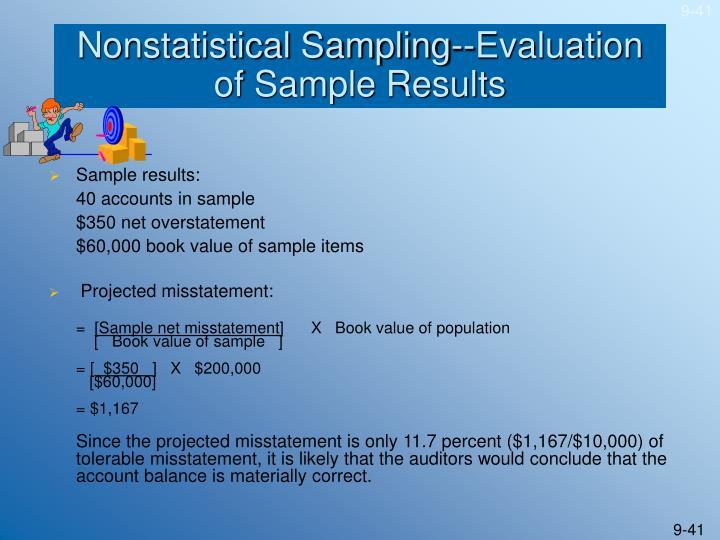 Nonstatistical Sampling--Evaluation of Sample Results