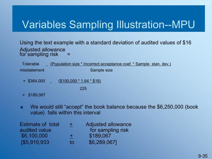 Variables Sampling Illustration--MPU