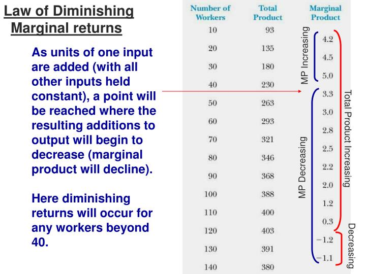 What is the Law of Diminishing Marginal Product?