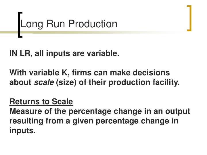 Long Run Production