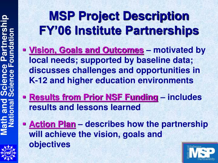 Msp project description fy 06 institute partnerships
