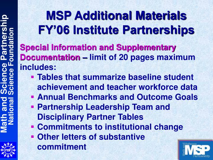 MSP Additional Materials