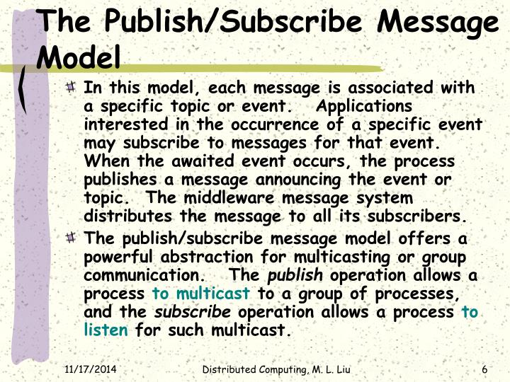 The Publish/Subscribe Message Model