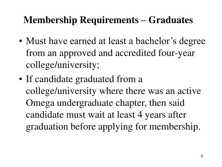 Membership Requirements – Graduates