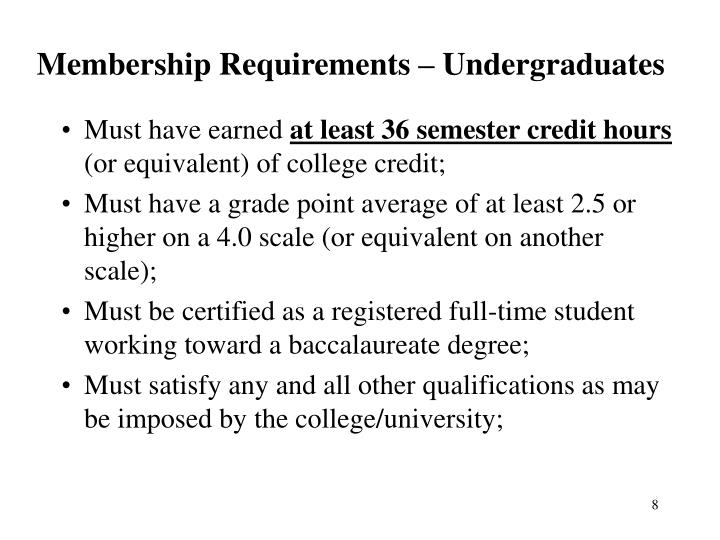Membership Requirements – Undergraduates