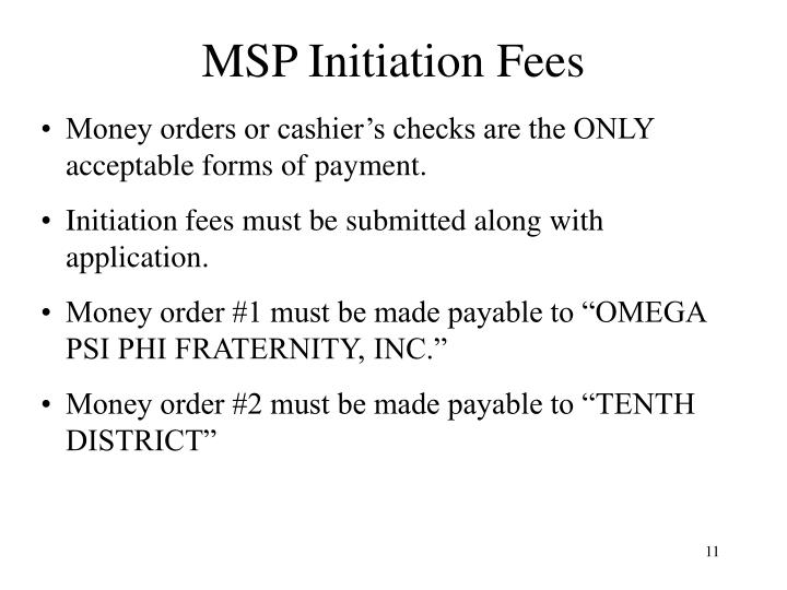 MSP Initiation Fees