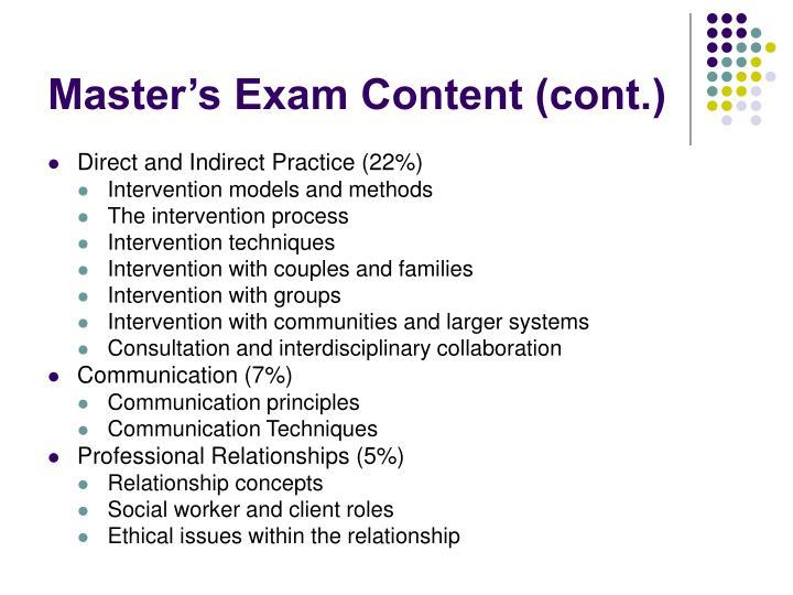 Master's Exam Content (cont.)