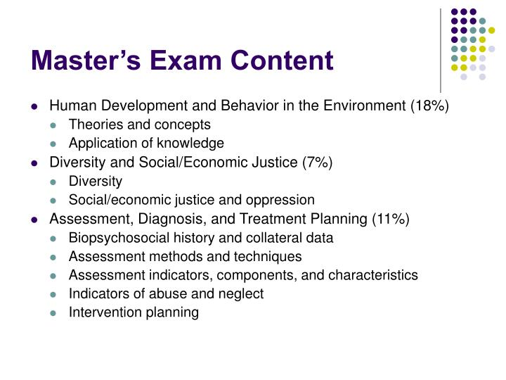 Master's Exam Content