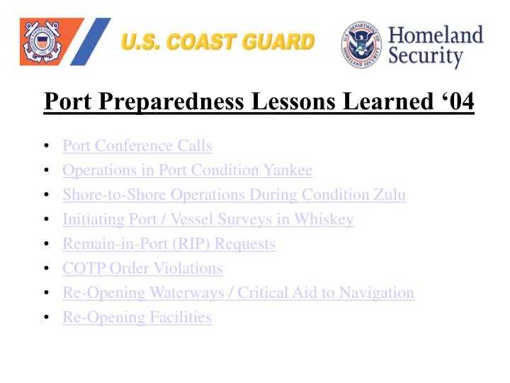 Port Preparedness Lessons Learned '04