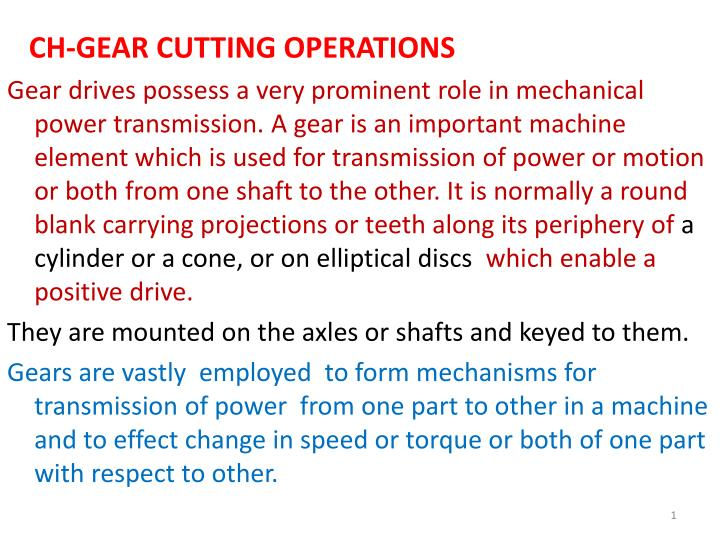 CH-GEAR CUTTING OPERATIONS