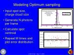 modeling optimum sampling