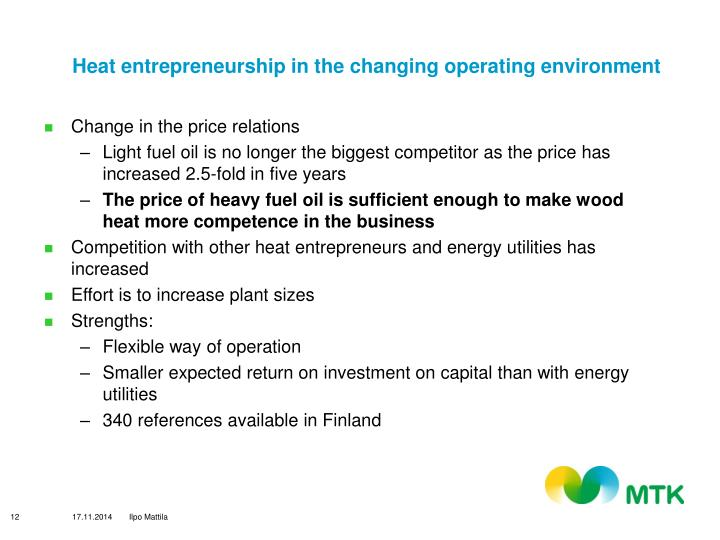 Heat entrepreneurship in the changing operating environment