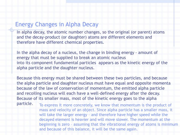 Energy Changes in Alpha Decay