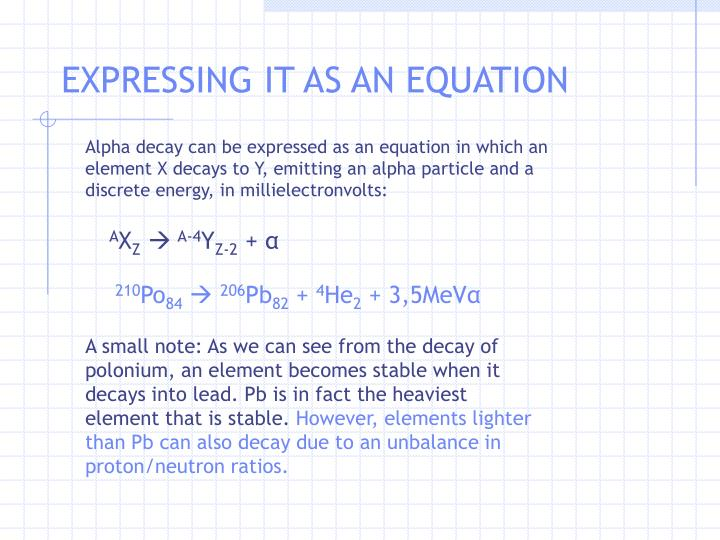 EXPRESSING IT AS AN EQUATION