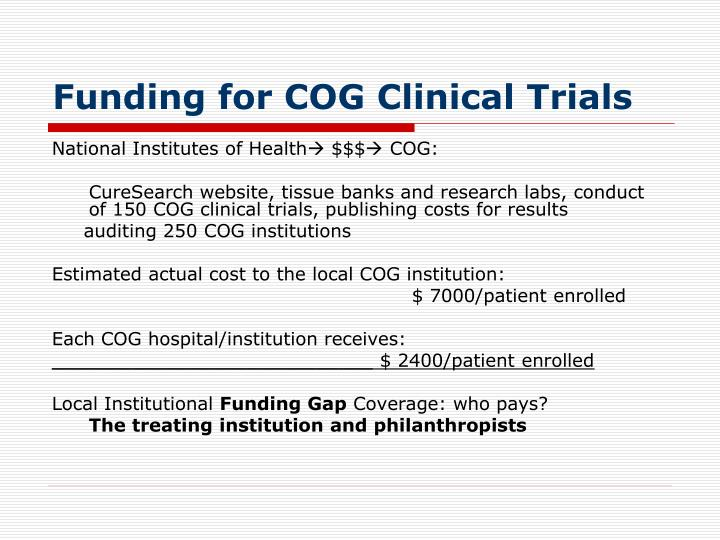 Funding for COG Clinical Trials
