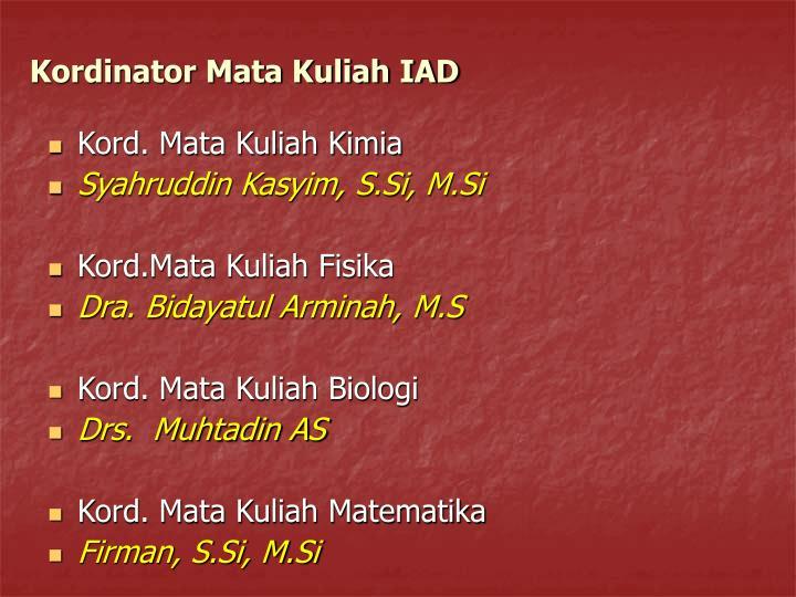 Kordinator Mata Kuliah IAD