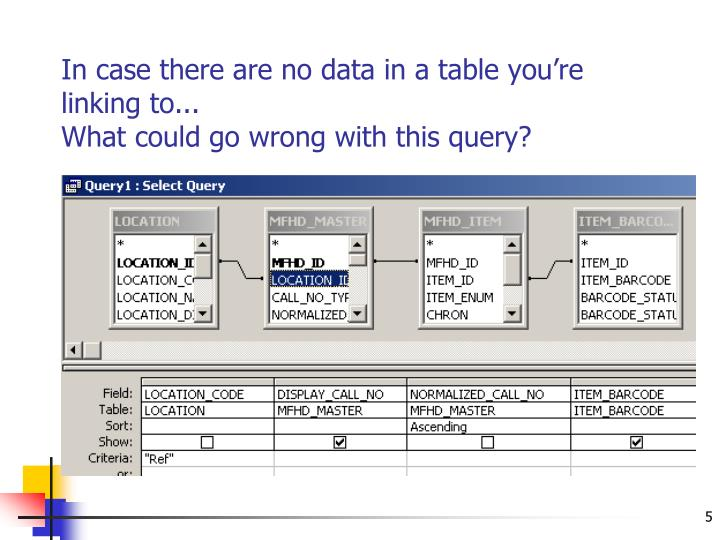 In case there are no data in a table you're linking to...