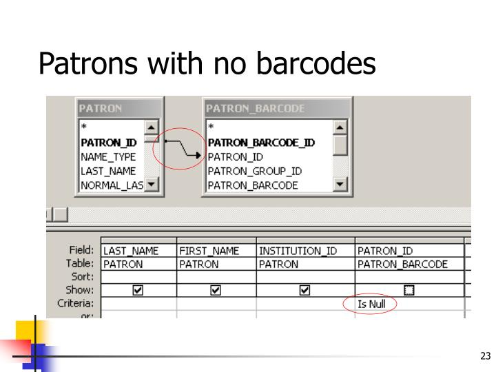 Patrons with no barcodes