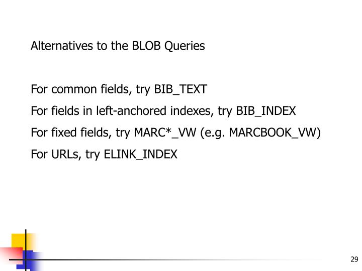 Alternatives to the BLOB Queries