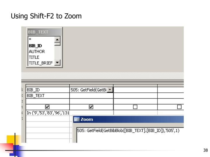 Using Shift-F2 to Zoom