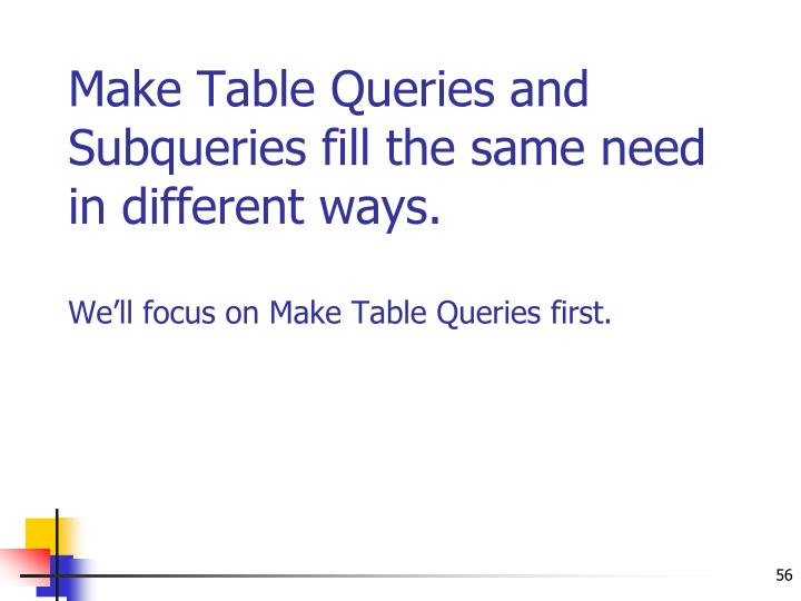 Make Table Queries and Subqueries fill the same need in different ways.