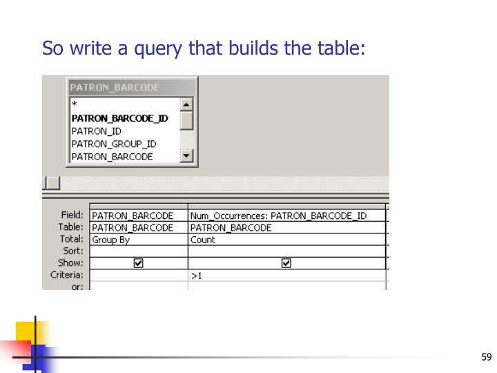So write a query that builds the table: