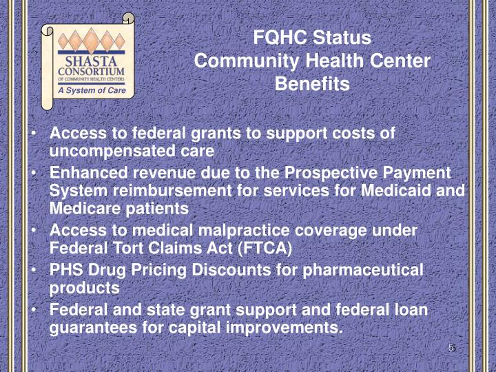 Access to federal grants to support costs of uncompensated care