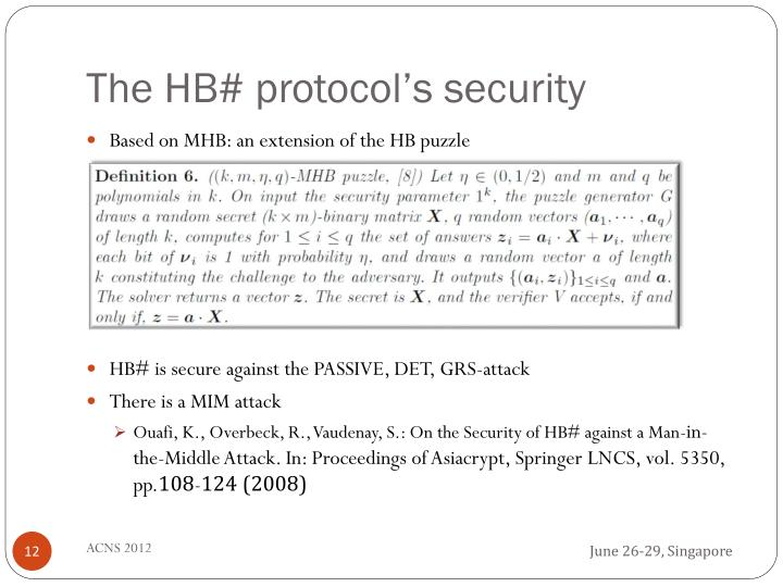 The HB# protocol's security