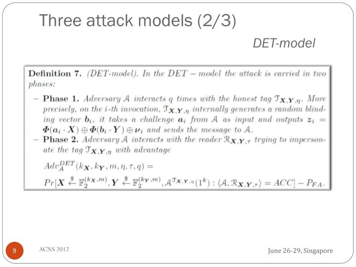 Three attack models (2/3)