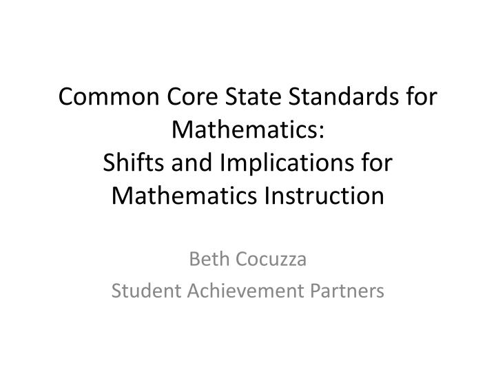 Common Core State Standards for Mathematics: