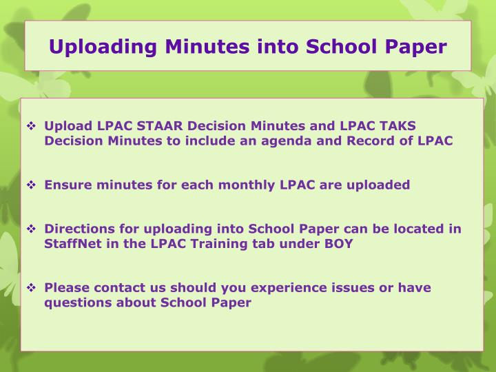 Uploading Minutes into School Paper