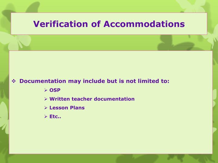 Verification of Accommodations