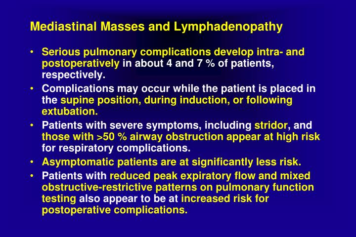 Mediastinal Masses and Lymphadenopathy