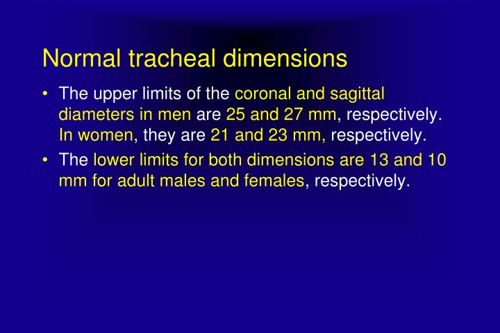 Normal tracheal dimensions