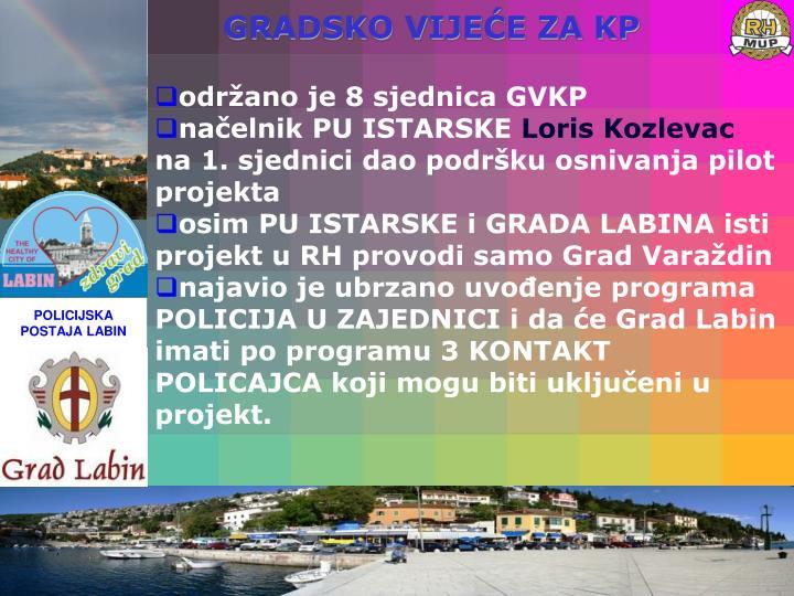 održano je 8 sjednica GVKP