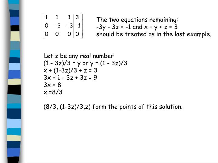 The two equations remaining:
