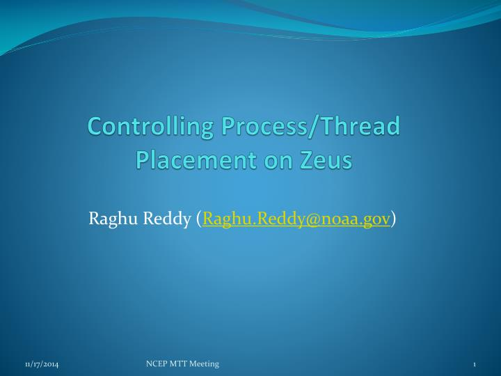 Controlling process thread placement on zeus