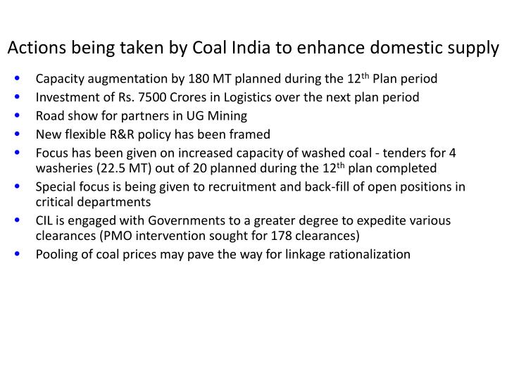 Actions being taken by Coal India to enhance domestic supply