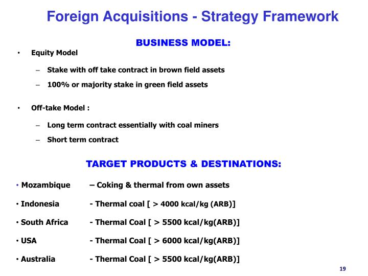 Foreign Acquisitions - Strategy Framework
