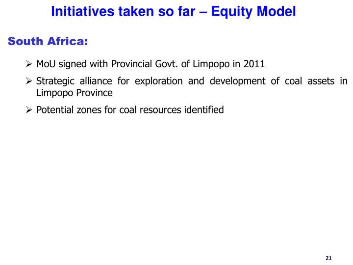 Initiatives taken so far – Equity Model