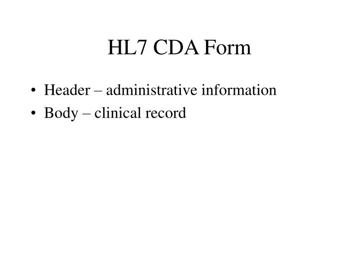 HL7 CDA Form