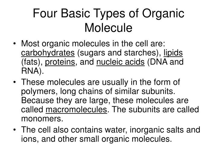 Four Basic Types of Organic Molecule