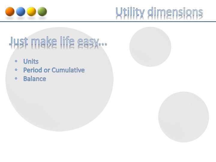 Utility dimensions