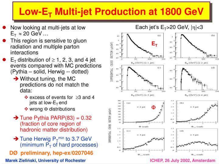 Now looking at multi-jets at low        E