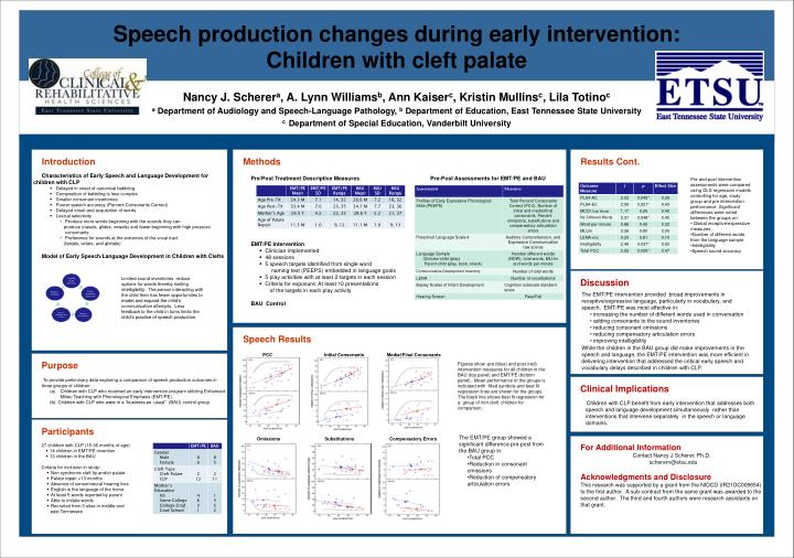 Speech production changes during early intervention: